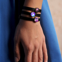14mm Glass Cabochon Charming With Black Leather Bracelet