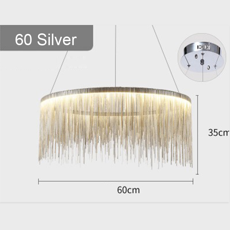 IKVVT роскошные подвесные светильники золотистого и серебряного цвета, круглые лампы с кисточками, Алюминиевый металлический корпус для гостиной, отеля, современные домашние лампы - Цвет корпуса: Dia60cm Silver