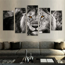 Household Product Canvas Art Happiness Lion And Cat Animals Decorative Paintings Modern Wall Pictures 5 pcs Wall Art No Frame