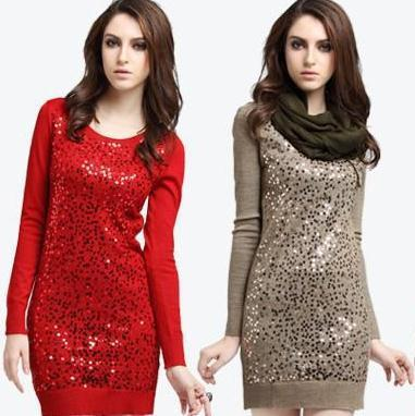 autumn sweater women thickening long pullovers sweater dress sequins knitted sweater