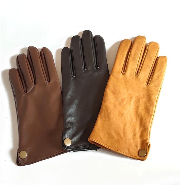 Men's Natural Leather Autumn Winter Thicken Warm Button Gloves Male Genuine Leather Sports Motorcycle Driving Gloves R750