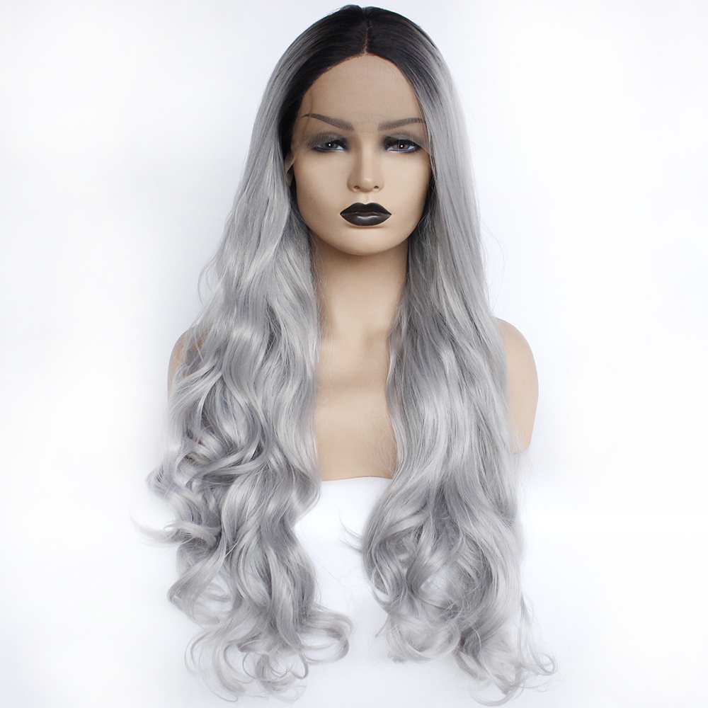 Lace Front Wig Black Roots Ombre Silver Grey Color Heat Resistant Fiber Daily Middle Gray Glueless
