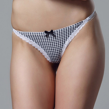 G-String Sexy Lace Scottish Tartan Brief Thong Hipster