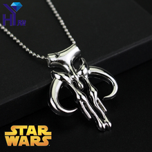 HEYu Fashion Movies Star Wars Mandalorian Symbol Bounty Hunter Stainless Steel Star Wars Darth Vader Boba Fett Pendant Necklace printio star wars boba fett