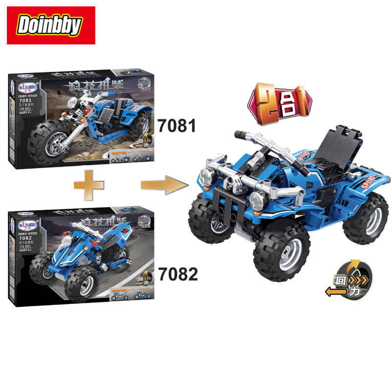 Bela 7081 7082 Technic Series Warrior Bicycle 2 In 1 Changed Creative Building Block Set Bricks Kits Toys New Arrival