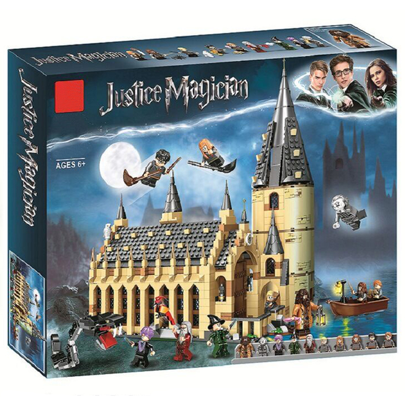 2018 Harri Movie Potter Hogwarts Great Hall Building Blocks Set Educational Toys for Children 75954 LegoINGly Magic Castle sweet beads rhinestone flower colored bracelet for women