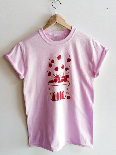 Sweet cherry graphic women fashion t-shirt camiseta rosa feminina kawaii grunge  aesthetic tees party 6c8ca54ff28b