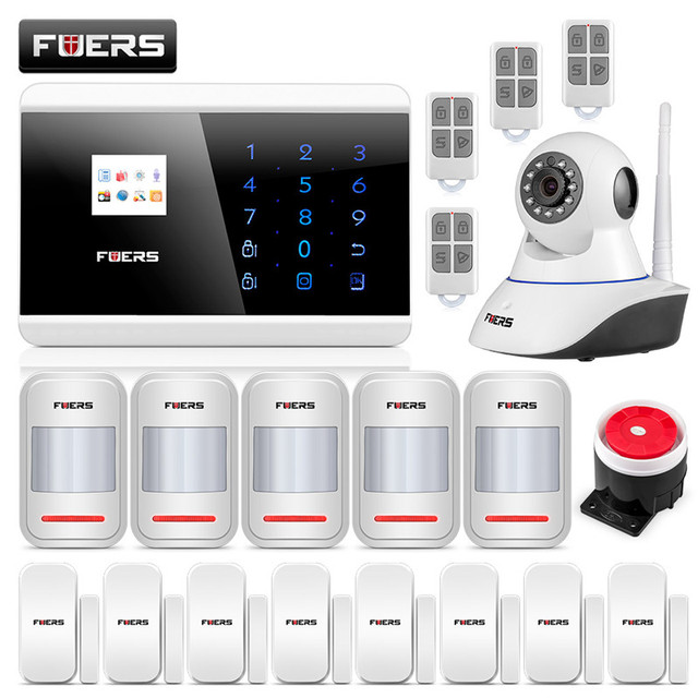 Fuers Alarm Systems Security Home Android IOS Touch Screen Keypad Wireless GSM PSTN SMS Security Burglar Alarm System 8218G