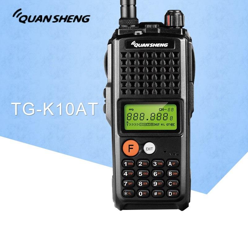 10 W QuanSheng TG-K10AT Talkie Walkie 10 km TG K10AT Radio Comunicador 10 KM UHF400-470MHz Facultatif VHF Band Two Way radio 4000 mAh