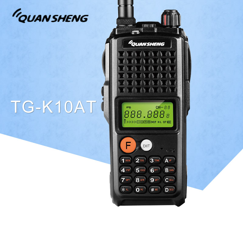 10 W QuanSheng TG-K10AT Talkie Walkie 10 km TG K10AT radio comunicador 10 km UHF400-470MHz En Option VHF Band Two way Radio 4000 mAh
