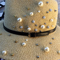 Ladies fashion UK style wide brim sunshade fedoras hats creative pearls beaded all-match loop yarn hat for women
