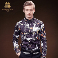 FANZHUAN Featured Brands Men Shirt Long Sleeved Vintage Chinese Style Animal Floral Printing Slim Fit Clothing