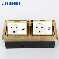 JOHO Brass 2 Gang Rectangle Pop Up Floor Socket Outlet Box With European Sockets 250V 16A For Living Room Office Bedroom