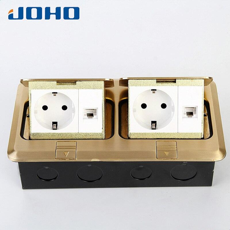 JOHO laiton 2 Gang Rectangle Pop Up plancher prise de courant boîte avec prises européennes 250 V 16A pour salon bureau chambre