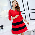 Princess Dress 2016 Autumn Vestido Long-sleeved striped beautiful women Dress Ukraine Vintage Swing Dress 3616