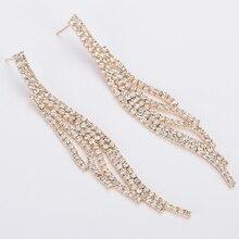 YFJEWE Full Rhinestone Crystal Drop Earrings Elegant Wedding Accessorie