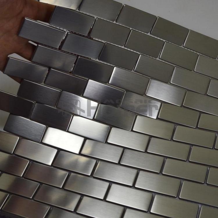 Silver Drawbench Stainless Steel Mosaic Tiles Brick Wall Backsplash 12x12 Hme8019 Kitchen Backsplash