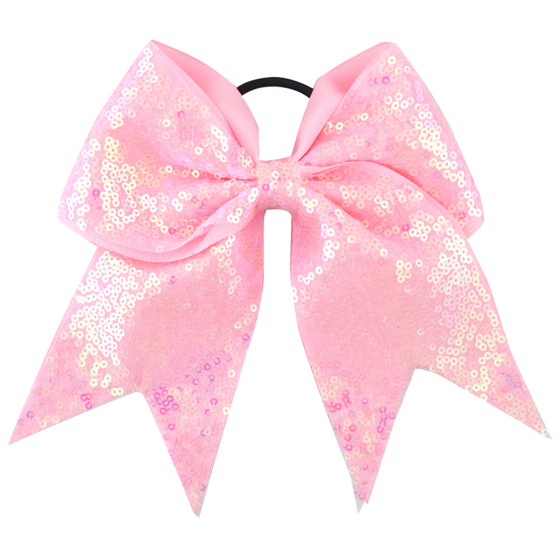 8 tommers jenter elastisk hårbånd Sequin Grosgrain Ribbon Hair Bow Kids Barn Hår Big Bow Hairwear Women Accessories