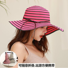 LCPEO summer straw hat woman striped edge beach sun collapsible sunscreen UV protection female