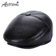 [AETRENDS] 2017 New Winter 100% Genuine Leather Newsboy Cap Men Beret Hats Dad Caps Leather bone feminino Z-5499