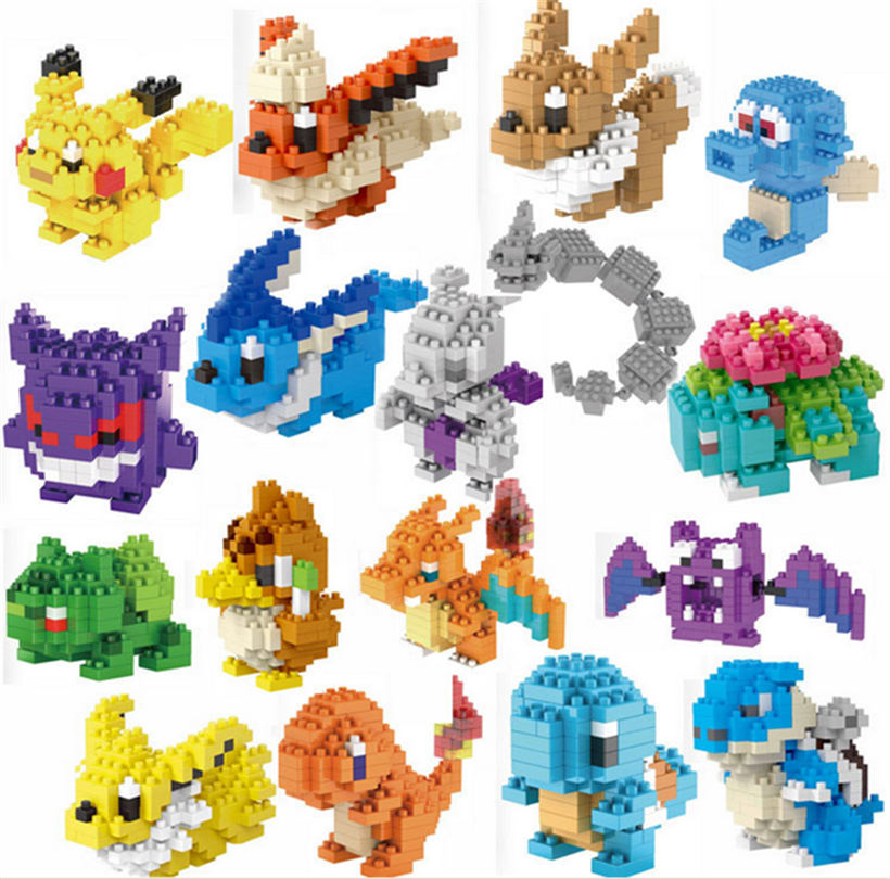 17pcslot LNO 17 models diamond cartoon picachu toy Bulbasaur building blocks Venusaur pet series Charmander bricks new arrive