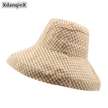 XdanqinX Foldable Adult Womens Bucket Hat 2019 Summer New Sun Cap Fashion Plaid Oversized Visor Beach Hats For Women Female