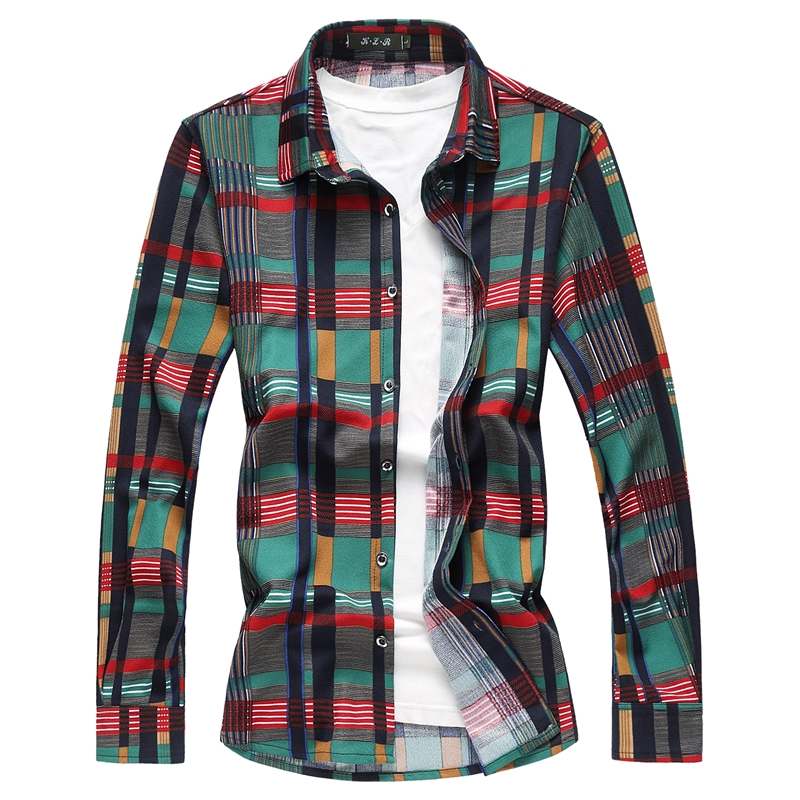 2018 Men Shirts Casual Plus Size 7xl Slim Fit Plaid Social Shirts High Quality Long Sleeve Mens Cotton Shirts Camisa Masculina