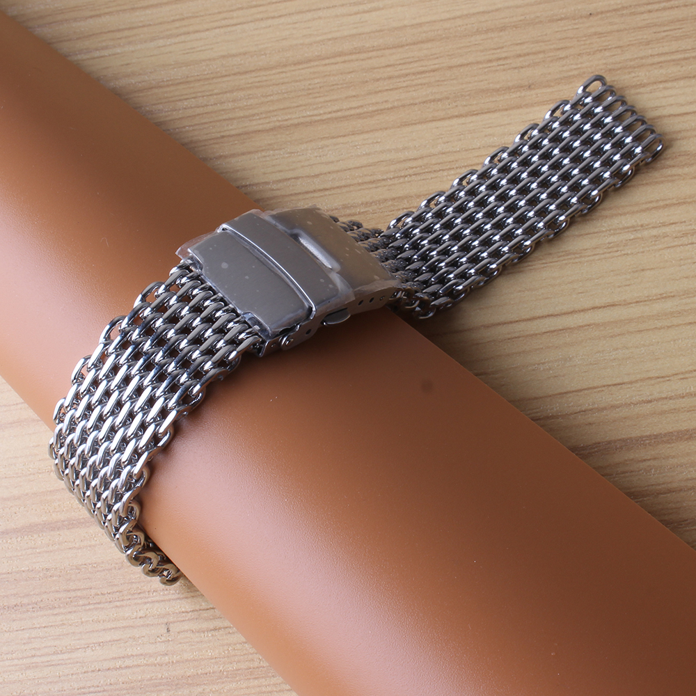 18mm 20mm 22mm 24mm loose watchbands bracelet shark mesh watch accessories folding buckle silver stainless steel special end new loose stainless steel silver shark mesh watchband bracelets special end safety buckle 18mm 20mm 22mm 24mm promotion men s straps