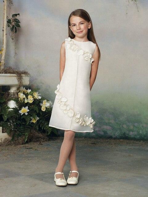 Appliques Knee Length   Flower     Girl     Dress   for Weddings Pageant Parties A Line Vestido De Daminha Casamento Mother Daughter   Dresses