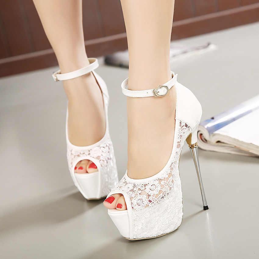 Kadın Ultra Yüksek Topuklu Düğün Pompaları 16.5 cm Peep Toe Tatlı Seksi Gece Kulübü parti ayakkabıları Bayanlar Dantel Platformu 6 cm Ince metal Topuklu