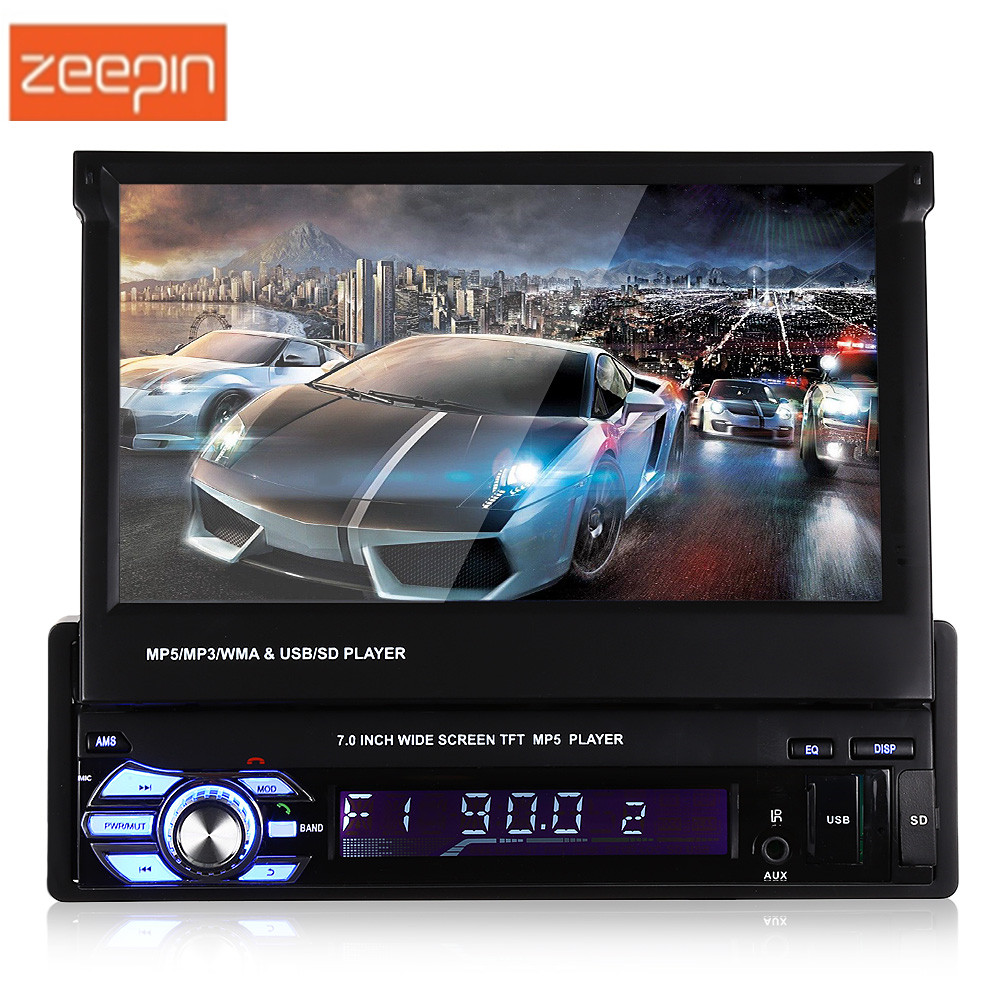 9601 7.0 inch 1 Din Car Multimedia Player LCD Screen Auto Audio Stero Bluetooth FM Radio Car MP5 Player With Remote Control zeepin 13 3 inch car multimedia roof mount player 1080p 120 degree rotating screen ir fm remote control wireless games auto dvd