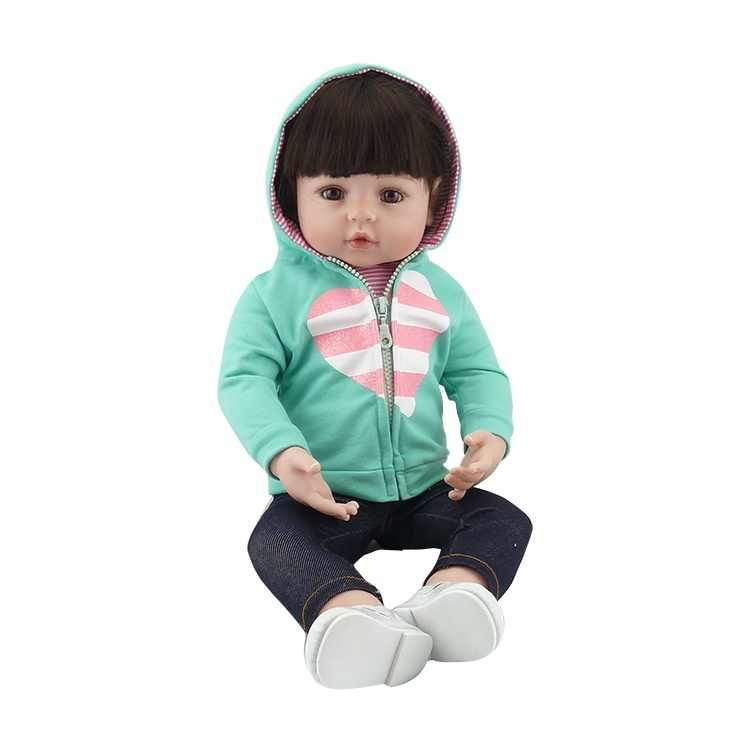 Npk bebes reborn boneca 47 cm silicone boneca menina reborn bebê boneca brinquedo lifelike recém nascido princesa victoria bonecas menina para crianças