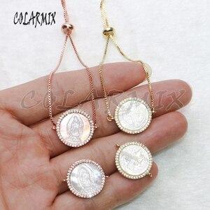 Image 1 - Pulsera de conchas para mujer, accesorios de piedras de concha, pulseras de joyería de cristal para mujer, joyería 5434, 10 piezas