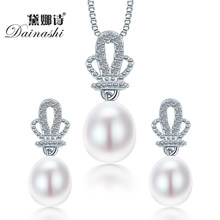 2019 Dainashi Crown Natural Pearl Pendant Earrings 925 Sterling Silver Jewellery Sets,White Pink Purple 9-10mm Water Drop Pearl(China)