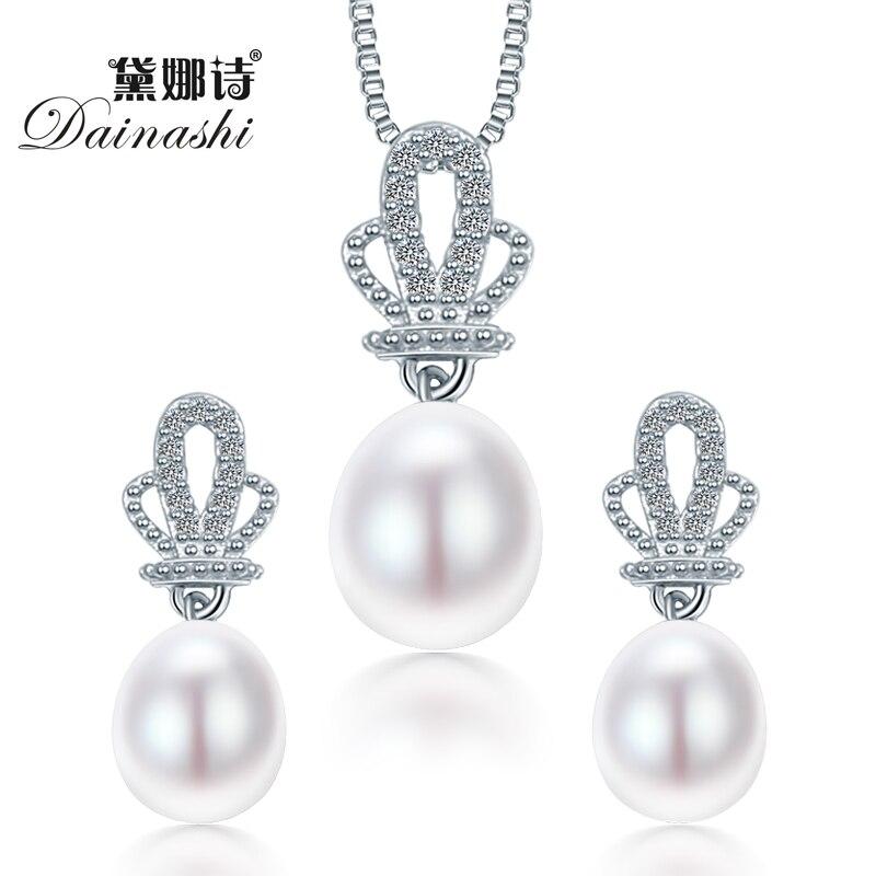 Aus Dem Ausland Importiert 2018 Dainashi Crown Natürliche Perle Anhänger Ohrringe 925 Sterling Silber Schmuck Sets, Weiß Rosa Lila 9-10mm Wassertropfen Perle Kaufe Eins, Bekomme Eins Gratis