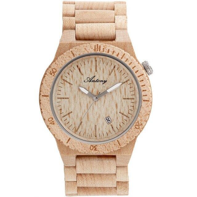 ANTONY Wooden Quartz Watch for Men Japanese Movement Luminous Pointers Waterproof Dress Watches Sandalwood relogio