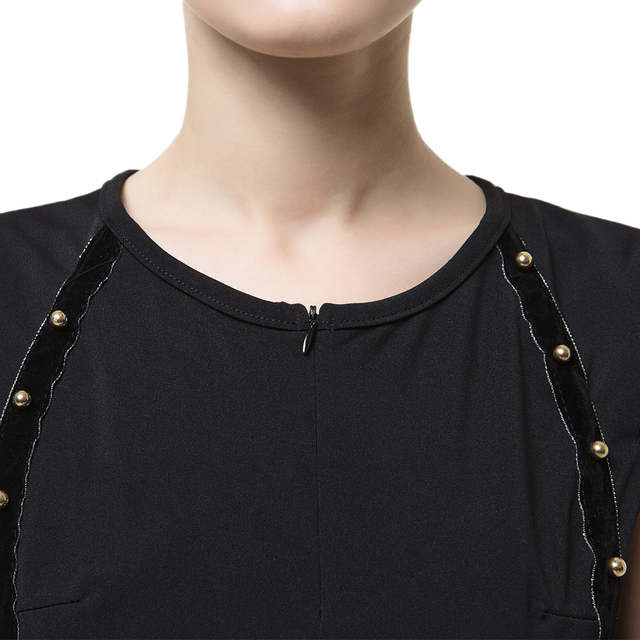 New Fashion Women Pencil Dress Studded Decoration Zipper Front Summer Dress  Short Sleeve Mini Bodycon Fit 7e728bdf6cf0