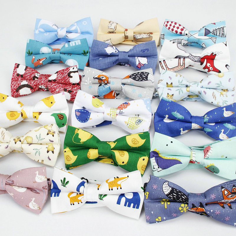 Cotton Mens Animal Bowtie Casual Shirts Bow Tie For Men Women Bowknot Adults Bear Print Cartoon Bow Ties Cravats Cats Bowties