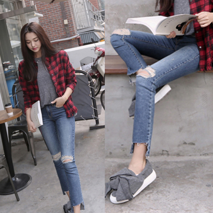 US $17 77 46% OFF Korean style 2018 spring do old knee holes elastic  restoring ancient ways bootleg jeans trousers women broken denim pants 25  31-in