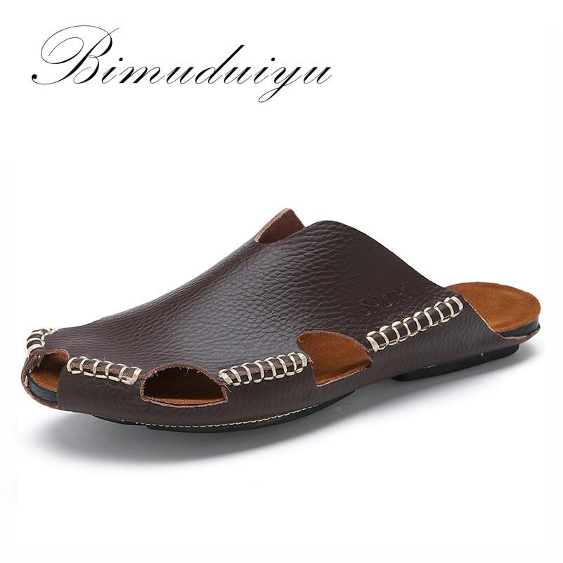 BIMUDUIYU Új Éjszakai Nyár Hűvös Bőr Lélegző Férfi Flip - Férfi cipők