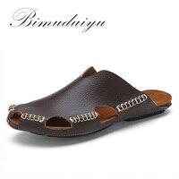BIMUDUIYU New Arrival Summer Cool Leather Breathable Men Flip Flops Korean Style Male Slipper Non slide Male Handmade Slippers