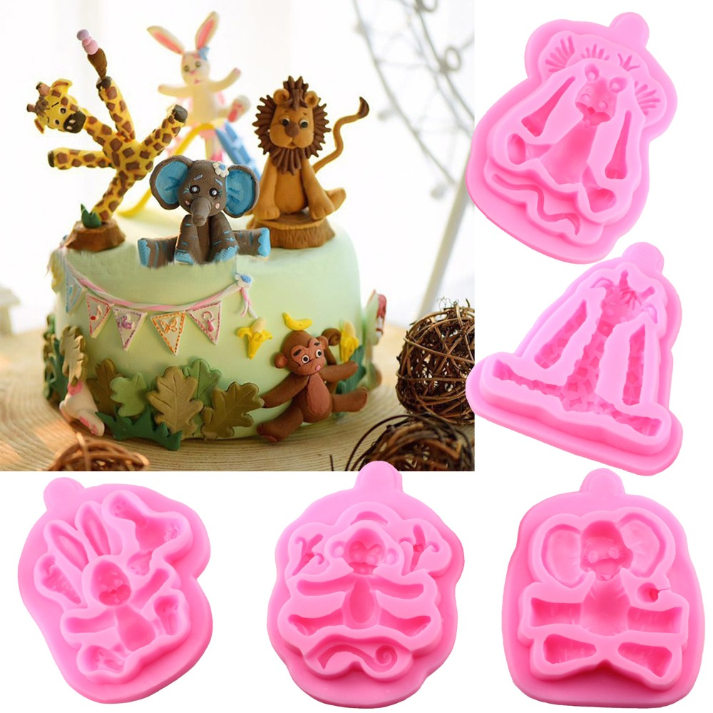 5pcs set animals silicone mold baby birthday party fondant for Baby footprints cake decoration