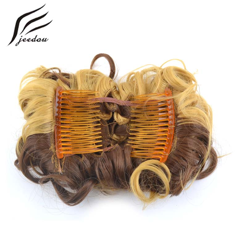 Synthetic Chignon Jeedou Synthetic Hair Chignon 60g Curly Hair Bun Pad Rubber Band Chignon Chic And Trendy Hottest Hair Trends Hairpieces Hair Extensions & Wigs