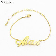 Personalized Name Bracelet For Women Friendship Gift Graduation Jewelry Custom Nameplate Armbanden Voor Vrouwen Stainless Steel