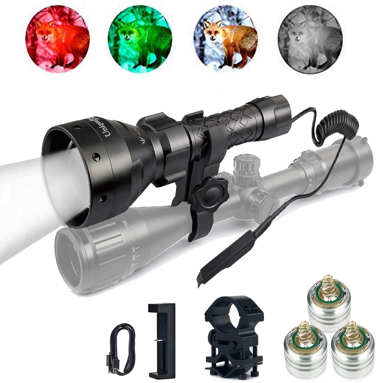 UniqueFire 4715AS IR 850nm LED lampe de poche infrarouge 67mm lentille torche avec interrupteur arrière, chargeur USB, supports de portée, pilules 3 LED