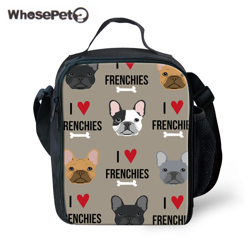 WHOSEPET Students Lunch Bag for School French Bulldog Printing Portable Food Storage Children Thermal Meal Bags Kids Picnic Box