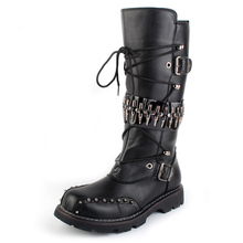 Punk Mens Heavy Metal Rock Rivet Bullet Round Toe Black Long Leather Boots Men Motorcycle Stage Performance Gothic Shoes