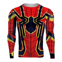 ФОТО long sleeve spiderman 3d printed t shirts men compression shirts 2018 new  tops for male cosplay costume clothing