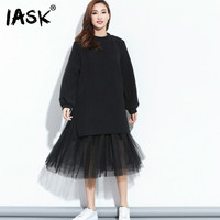 IASK 2018 Korean Spring Fashion New Large Size Fake Two Pieces Mesh Yarn Stitching Striped