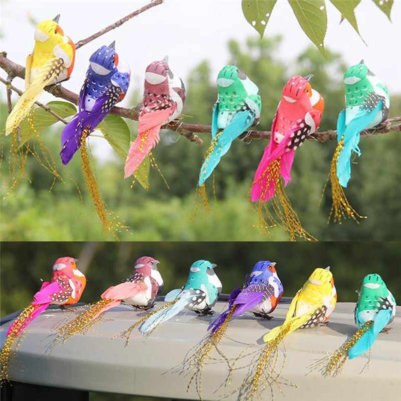 Warna Acak Buatan Busa Bulu Simulasi Burung DIY Pesta Kerajinan Magnet Dekoratif Merpati Buatan Busa Bulu